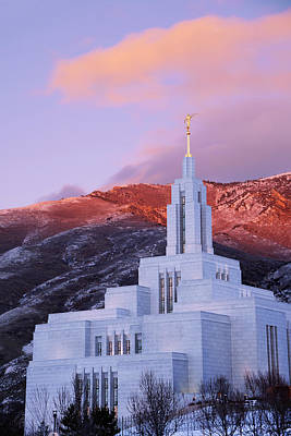 Mormon Temple Photograph - Last Light At Draper Temple by Chad Dutson