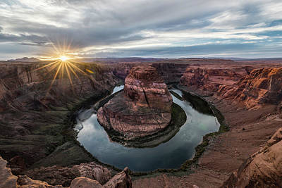 Design In Nature Photograph - Last Light At Horseshoe Bend by Jon Glaser