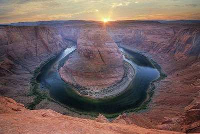 Grand Canyon Mixed Media - Last Light At Horseshoe Bend by Lori Deiter