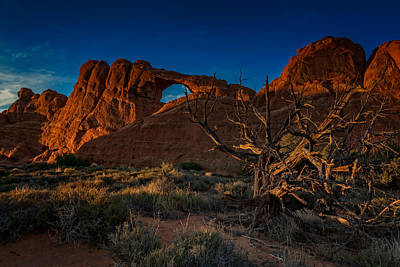 Megalith Photograph - Last Light At Skyline Arch by Rick Berk