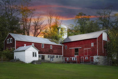 Photograph - Last Light At The Red Barn by Susan Candelario