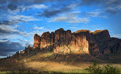 The Superstitions Photograph - Last Light At The Superstitions  by Saija  Lehtonen
