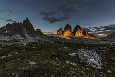 Last Light At The Tre Cime Di Lavaredo Print by James Rushforth
