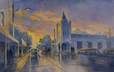 Small Town Painting - Last Light, High Street At Seventh by Virgil Carter