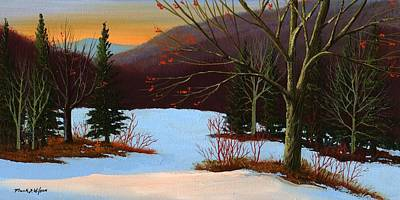 Snowscape Painting - Last Light Of Day by Frank Wilson
