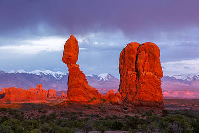 Photograph - Last Light On Balanced Rock by Aaron Spong
