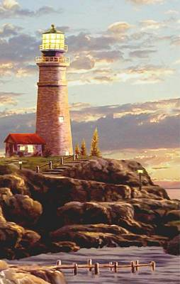 Lighthouse And Sailboat Painting - Last Light Segment 2 by Ron Chambers