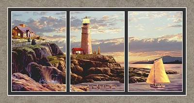 Lighthouse And Sailboat Painting - Last Light Split Image by Ron Chambers