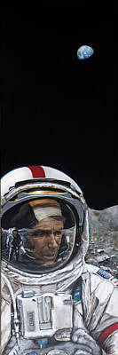 Painting - Last Men- Gene Cernan by Simon Kregar