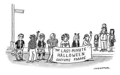 Drawing - Last-minute Halloween Costume Parade by Joe Dator