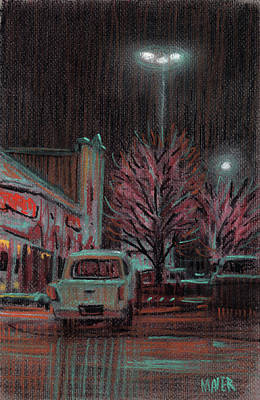 Parking Drawing - Last Minute Shopping by Donald Maier