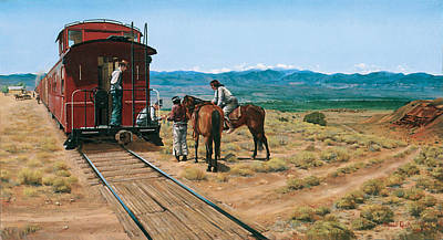 Old Caboose Painting - Last Minute Trading At Santo Domingo by Randall R Quick