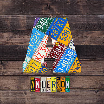 Travel Mixed Media - Last Name Letter A Monogram License Plate Art Custom by Design Turnpike