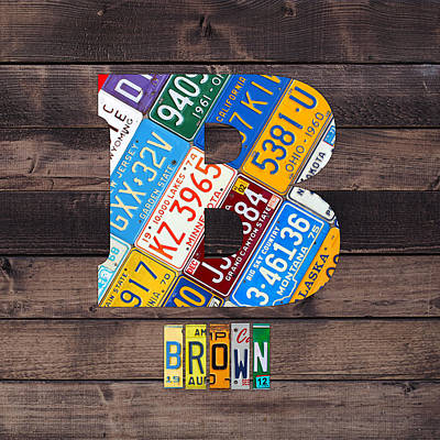 Travel Mixed Media - Last Name Letter B Monogram License Plate Art Custom by Design Turnpike