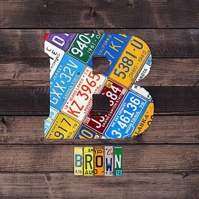 Usa Mixed Media - Last Name Letter B Monogram License Plate Art Custom by Design Turnpike