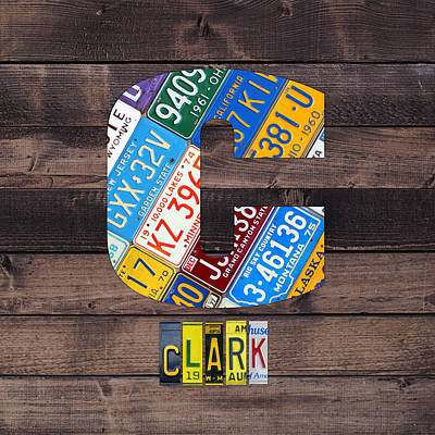 Usa Mixed Media - Last Name Letter C Monogram License Plate Art Custom by Design Turnpike