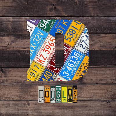 Usa Mixed Media - Last Name Letter D Monogram License Plate Art Custom by Design Turnpike