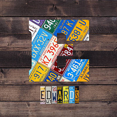 Usa Mixed Media - Last Name Letter E Monogram License Plate Art Custom by Design Turnpike