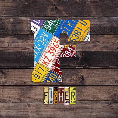 Usa Mixed Media - Last Name Letter F Monogram License Plate Art Custom by Design Turnpike