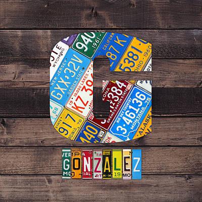 Usa Mixed Media - Last Name Letter G Monogram License Plate Art Custom by Design Turnpike