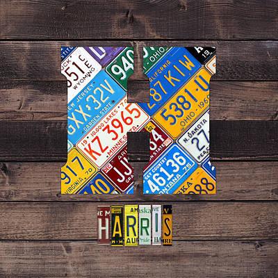 Usa Mixed Media - Last Name Letter H Monogram License Plate Art Custom by Design Turnpike