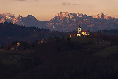 Slovenia Photograph - Church On The Hill With Moutains In The Distance by Blaz Gvajc