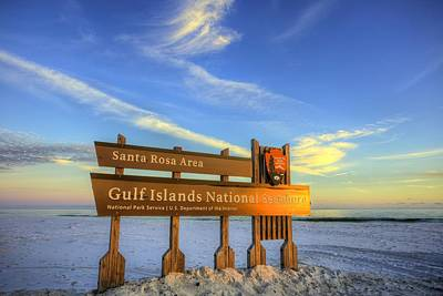 Last Rays Of The Sun On The Gulf Islands National Seashore Art Print by JC Findley