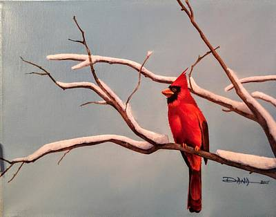 Painting - Last Snow Of Winter, Cardinal by Dana Newman