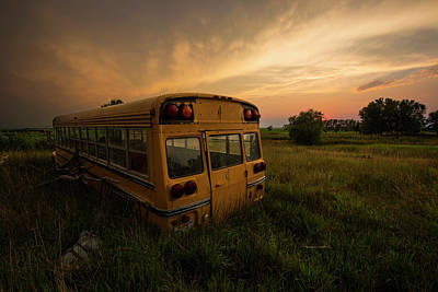 School Buses Photograph - Last Stop  by Aaron J Groen