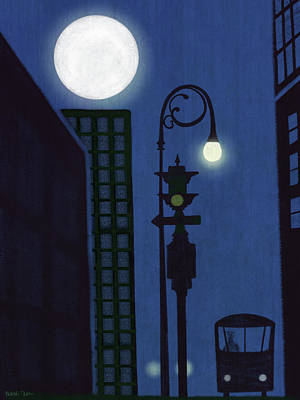 Night Lamp Painting - Last Stop For The Night Bus by Little Bunny Sunshine