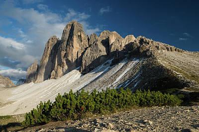 Photograph - Last Sun Rays Illuminating Tre Cime Di Lavarado In Dolomites Mountains, Italy, Europe by Blaz Gvajc