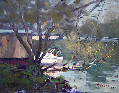 Boat House Painting - Last Sun Touches By Tonawanda Canal by Ylli Haruni