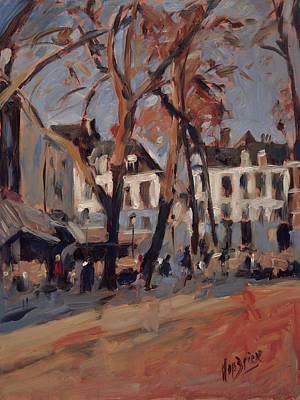 Painting - Last Sunbeams Our Lady Square Maastricht by Nop Briex