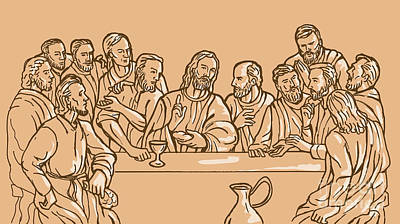 Religious Drawings Digital Art - last supper of Jesus Christ by Aloysius Patrimonio