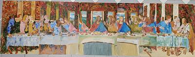 Last Supper Sketch Five Pannels Art Print by Bachmors Artist