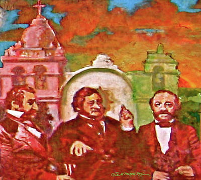 Painting - Last Three Mexican Generals by Dean Gleisberg