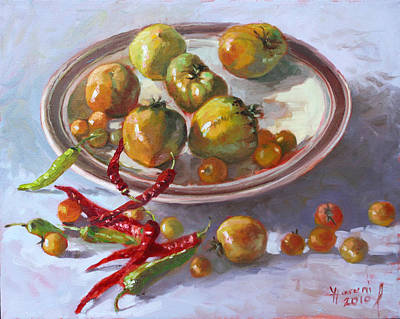 Table Painting - Last Tomatoes From My Garden by Ylli Haruni