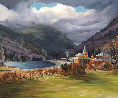 The Nature Center Painting - Last Train To Crawford Notch Depot by Nancy Griswold