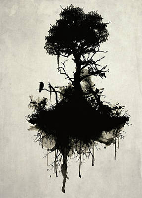 Raven Digital Art - Last Tree Standing by Nicklas Gustafsson