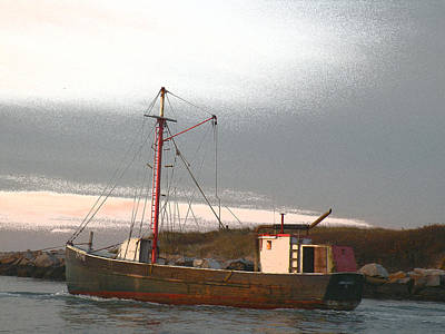 Eastern-rig Dragger Fishing Boat Photograph - Last Voyage by Donald Cameron