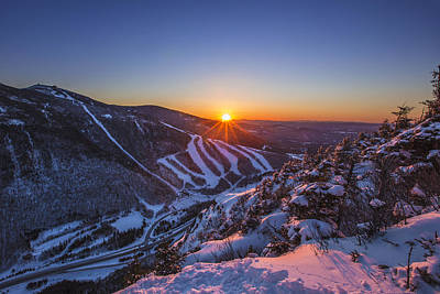 Photograph - Last Winter Sunset Over Cannon Mountain by Chris Whiton