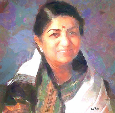 Lata Mangeshkar  Art Print by Wayne Pascall