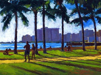 Oahu Painting - Late Afternoon - Queen's Surf by Douglas Simonson
