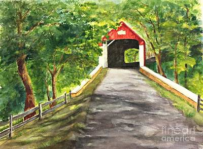 Painting - Late Afternoon At Knechts Covered Bridge   by Lucia Grilletto