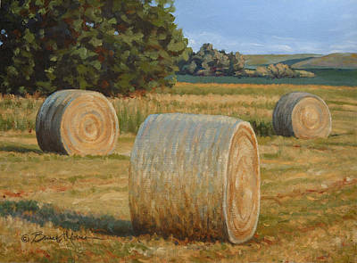 Bales Painting - Late Afternoon Bales - Plein Air by Bruce Morrison