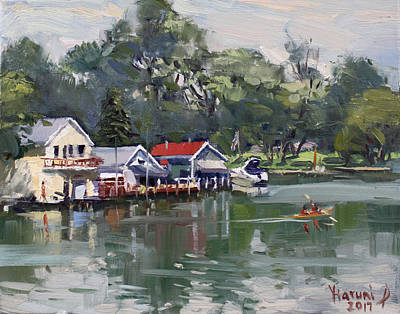 River Boat Painting - Late Afternoon By The Canal by Ylli Haruni