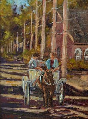 Late Afternoon Carriage Ride Art Print by Charles Schaefer