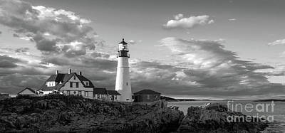 Photograph - Late Afternoon Clouds, Portland Head Light  -98461 by John Bald