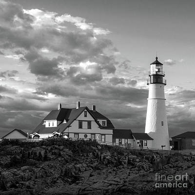 Late Afternoon Clouds, Portland Head Light  -98461-sq Art Print