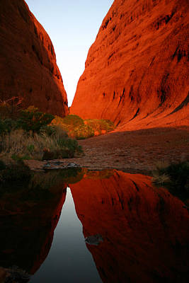 Photograph - Late Afternoon Light And Reflections At Kata Tjuta In The Northern Territory by Keiran Lusk